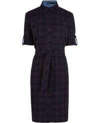 Karen Millen Cotton Check Shirt Dress - Lyst