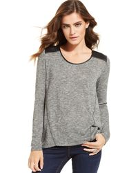 DKNY Metallic-knit Faux-leather-panel Sweater - Lyst