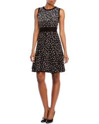 Eliza J Black & White Dot Print Flared Hem Dress - Lyst
