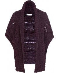 Nicole Farhi - Womens Chunky Knit Short Cardigan - Lyst