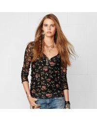 Denim & Supply Ralph Lauren Lace-trim Floral Henley - Lyst