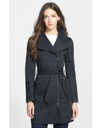 Mackage Leather Trim Asymmetrical Zip Long Trench Coat - Lyst