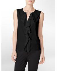 Calvin Klein White Label Hardware Detail Ruffled Sleeveless Top - Lyst
