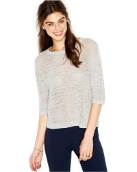 Maison Jules Short-Sleeve Metallic-Flecked Open-Knit Top - Lyst