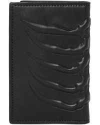 Alexander McQueen Rib Cage Leather Folded Card Holder black - Lyst
