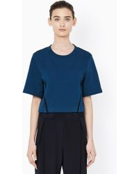 3.1 Phillip Lim Crop Sweatshrt With Pitched Seamlines And Cdc Inset - Lyst