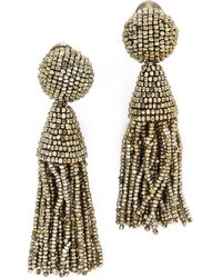 Oscar de la Renta Classic Short Tassel Earrings - Champagne - Lyst