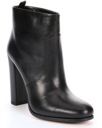 Prada Black Leather Square Heel Ankle Boots - Lyst