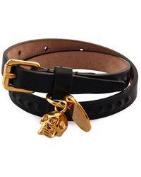 Alexander McQueen Wraparound Leather Bracelet - Lyst