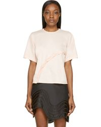 Opening Ceremony Sheer Pink Twisted Button Placket T_Shirt - Lyst