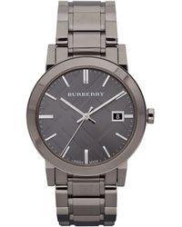 Burberry Mens Gunmetal Round Dial Watch - Lyst