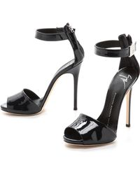 Giuseppe Zanotti Patent Peep Toe Sandals - Blue - Lyst