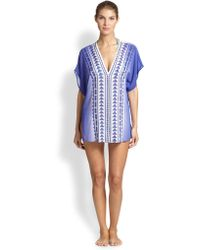 Milly Anguilla Embroidered Silk Caftan - Lyst