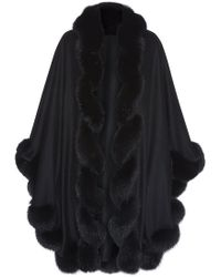 Harrods Of London Spiral Fox Fur Trimmed Cape - Lyst