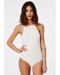 Missguided Kayleigh Racer Bodysuit White - Lyst