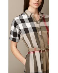 Burberry Tiewaist Check Shirt Dress - Lyst