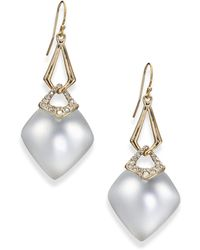 Alexis Bittar Sport Deco Lucite & Crystal Double-Link Drop Earrings/Grey gold - Lyst