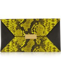 Stella McCartney Beckett Faux Python and Faux Leather Clutch - Lyst