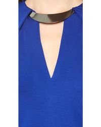 Halston Heritage Deep V Dress Bright Indigo - Lyst