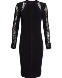 Antonio Berardi Buttoned Lace Inset Dress - Lyst