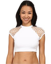 Seafolly Mesh About Crop Top white - Lyst