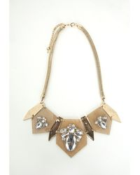 Missguided Perspex Crystal Detail Necklace Gold - Lyst