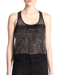 Parker Semi-Sheer Ajax Beaded Fishnet Top - Lyst