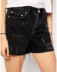 Asos Denim Girlfriend Shorts in Washed Black - Lyst