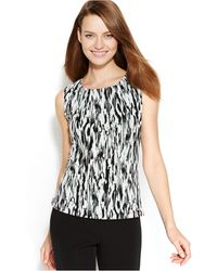 Calvin Klein Pleated-Neck Printed Top - Lyst