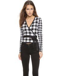 Diane von Furstenberg Kyla Wrap Sweater - Black/White Gingham - Lyst