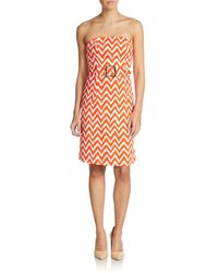 Milly Belted Strapless Dress - Lyst