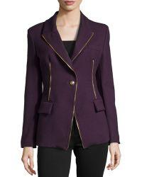 Versace Zip-Detail One-Button Slim Jacket - Lyst