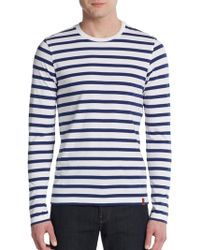 Ben Sherman Striped Cotton Crewneck Tee - Lyst