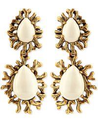 Oscar de la Renta Ivory Branch Cabochon Clip Earrings - Lyst