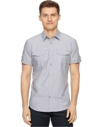 Calvin Klein Marquis End-On-End Dobby Slim-Fit Shirt silver - Lyst