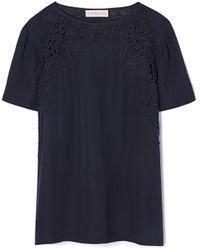 Tory Burch | Linen Jersey & Lace T-shirt | Lyst