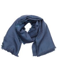 Gucci Blue Silk And Wool Blend Gg Logo Fringe Detail Scarf - Lyst