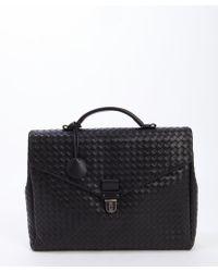 Bottega Veneta Black Intrecciato Leather Flap Briefcase - Lyst