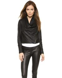 Helmut Lang Drape Front Leather Jacket - Black - Lyst