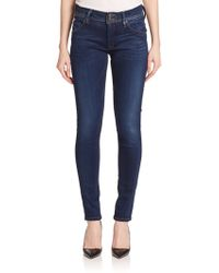 Hudson Collin Mid-Rise Skinny Jeans blue - Lyst