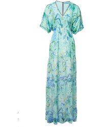 Matthew Williamson Mint Pineapple Paisley Print Tiered Maxi Dress green - Lyst