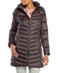 Tommy Hilfiger Black Hooded Packable Down Coat - Lyst