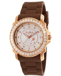 Thierry Mugler Women'S Brown Rubber White Crystal Encrusted Bezel - Lyst