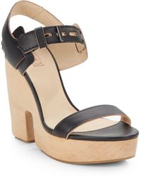 Reed Krakoff Leather Cutout Wedge Sandals - Lyst
