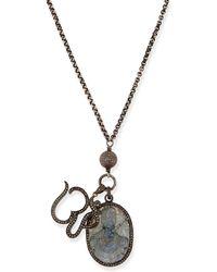 Sheryl Lowe   Carved Labradorite & Pave Diamond Pendant Necklace   Lyst