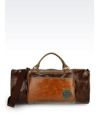 Armani Jeans - Holdall In Faux Leather With Logo - Lyst