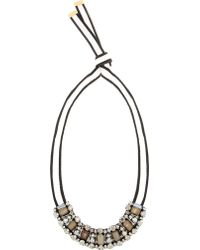 Marni Beige Horn and Crystal Necklace - Lyst