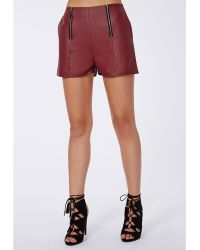Missguided Carliee Faux Leather High Waist Shorts Burgundy - Lyst