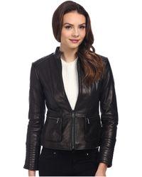 Nicole Miller Zip Front Peplum Coat - Lyst