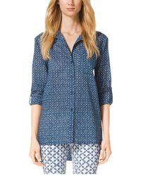 Michael Kors Printed Cotton Shirt - Lyst